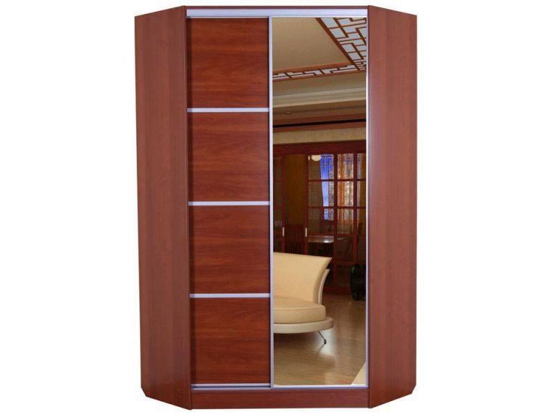 Угловой шкаф-купе в спальню фото, размеры: 2400х1250х1250 мм.