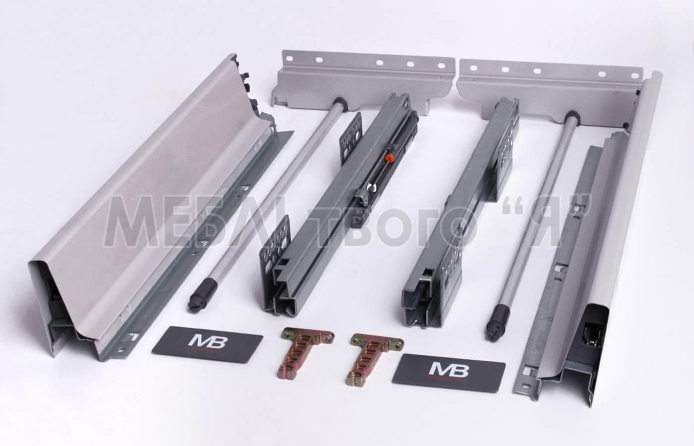 Направляющие полного выдвижения GTV MODERN BOX PB-D-KPL450С 450 мм Серый