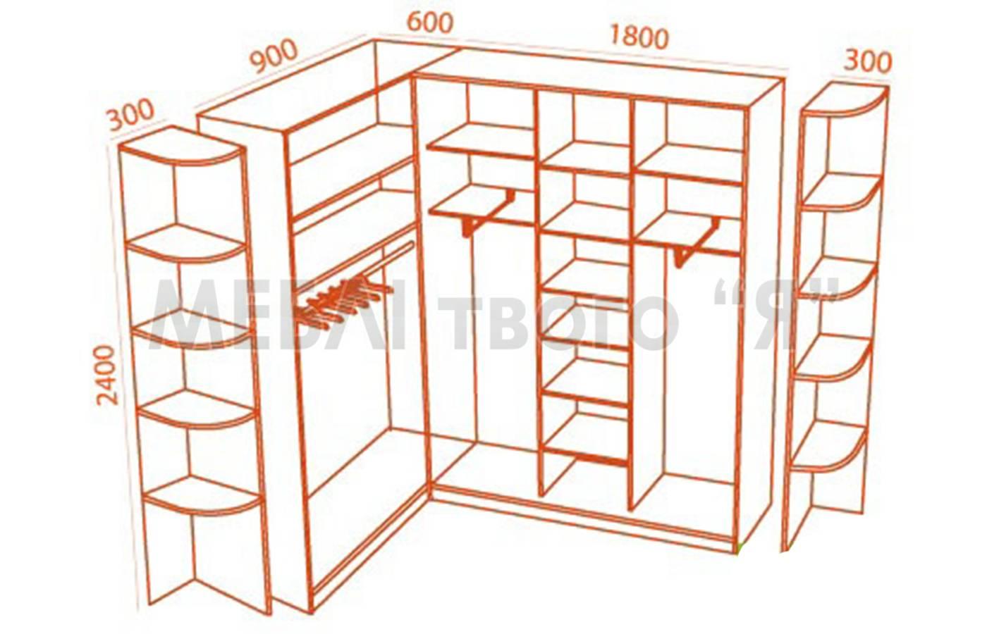Шкафы угловые для спальни и схемы