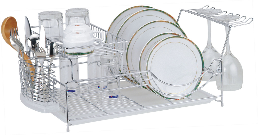 Настольная сушка для посуды - с посудой и бокалами